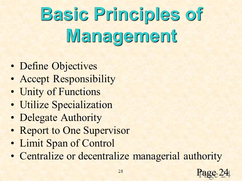 28 Basic Principles of Management Define Objectives Accept Responsibility Unity of Functions Utilize Specialization Delegate Authority Report to One Supervisor Limit Span of Control Centralize or decentralize managerial authority Page 24