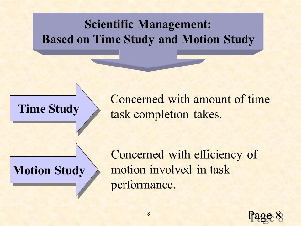 8 Scientific Management: Based on Time Study and Motion Study Time Study Concerned with amount of time task completion takes.