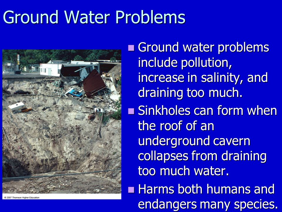 Ground Water Problems Ground water problems include pollution, increase in salinity, and draining too much.