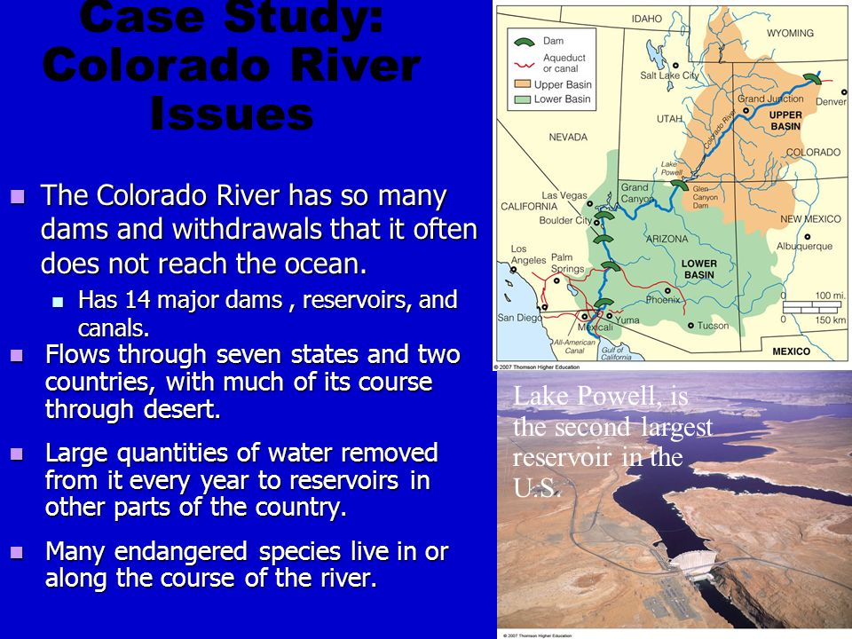 The Colorado River has so many dams and withdrawals that it often does not reach the ocean.