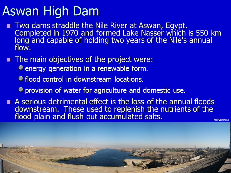 Aswan High Dam Two dams straddle the Nile River at Aswan, Egypt.
