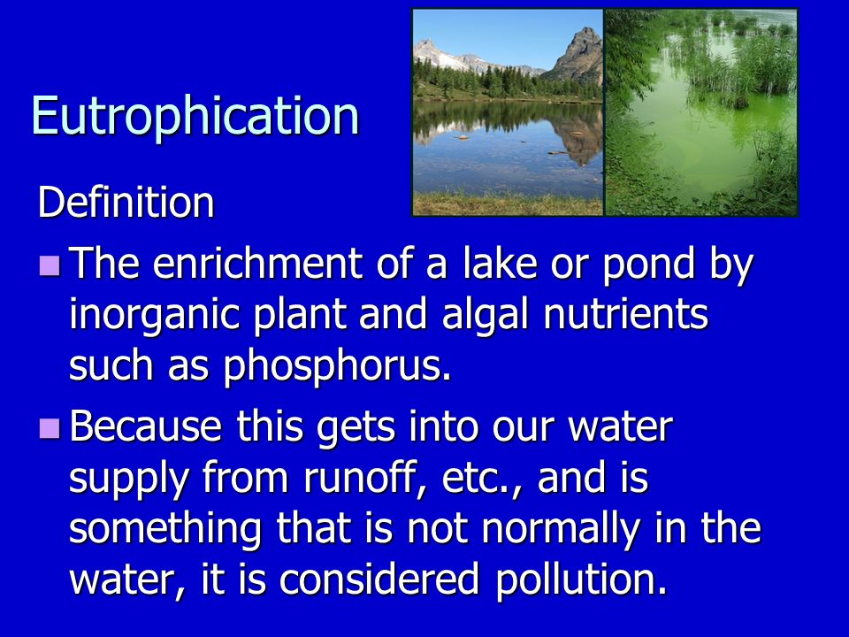 Eutrophication Definition The enrichment of a lake or pond by inorganic plant and algal nutrients such as phosphorus.