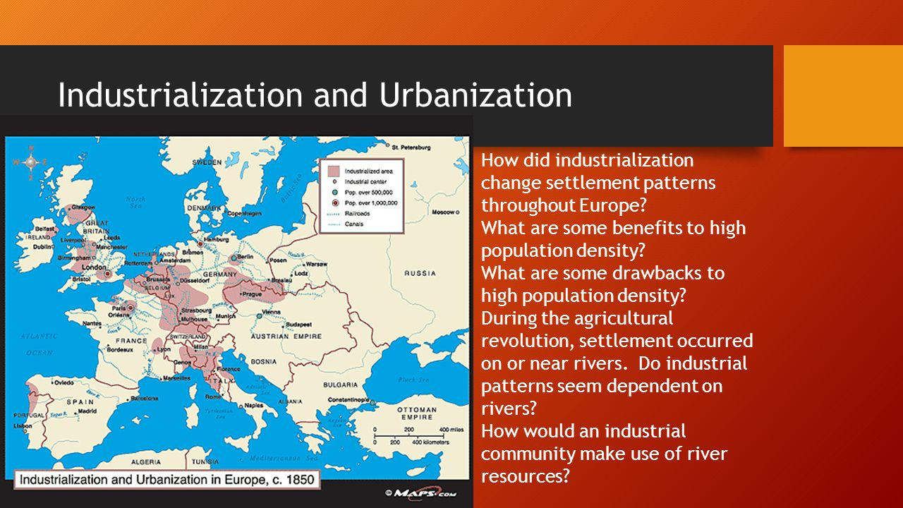 industrialization on settlement patterns essay Lesson plan: industrialization & urbanization develop a thematic essay that responds to the task below: their behavior patterns.