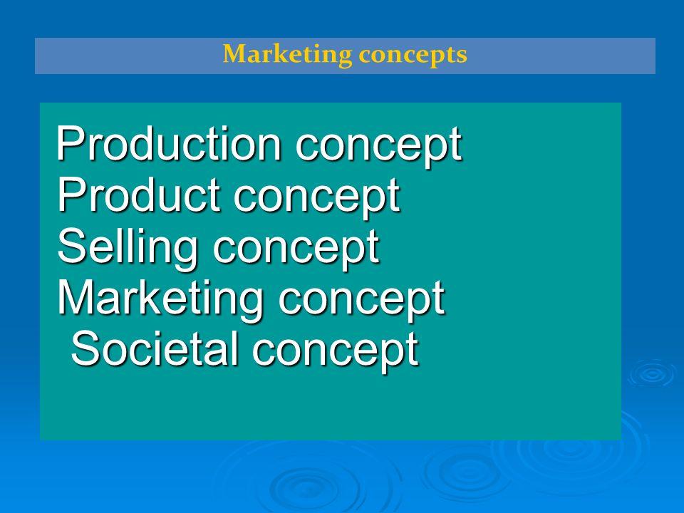Production concept Production concept Product concept Product concept Selling concept Selling concept Marketing concept Marketing concept Societal concept Societal concept Marketing concepts