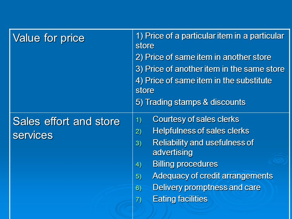 Value for price 1) Price of a particular item in a particular store 2) Price of same item in another store 3) Price of another item in the same store 4) Price of same item in the substitute store 5) Trading stamps & discounts Sales effort and store services 1) Courtesy of sales clerks 2) Helpfulness of sales clerks 3) Reliability and usefulness of advertising 4) Billing procedures 5) Adequacy of credit arrangements 6) Delivery promptness and care 7) Eating facilities