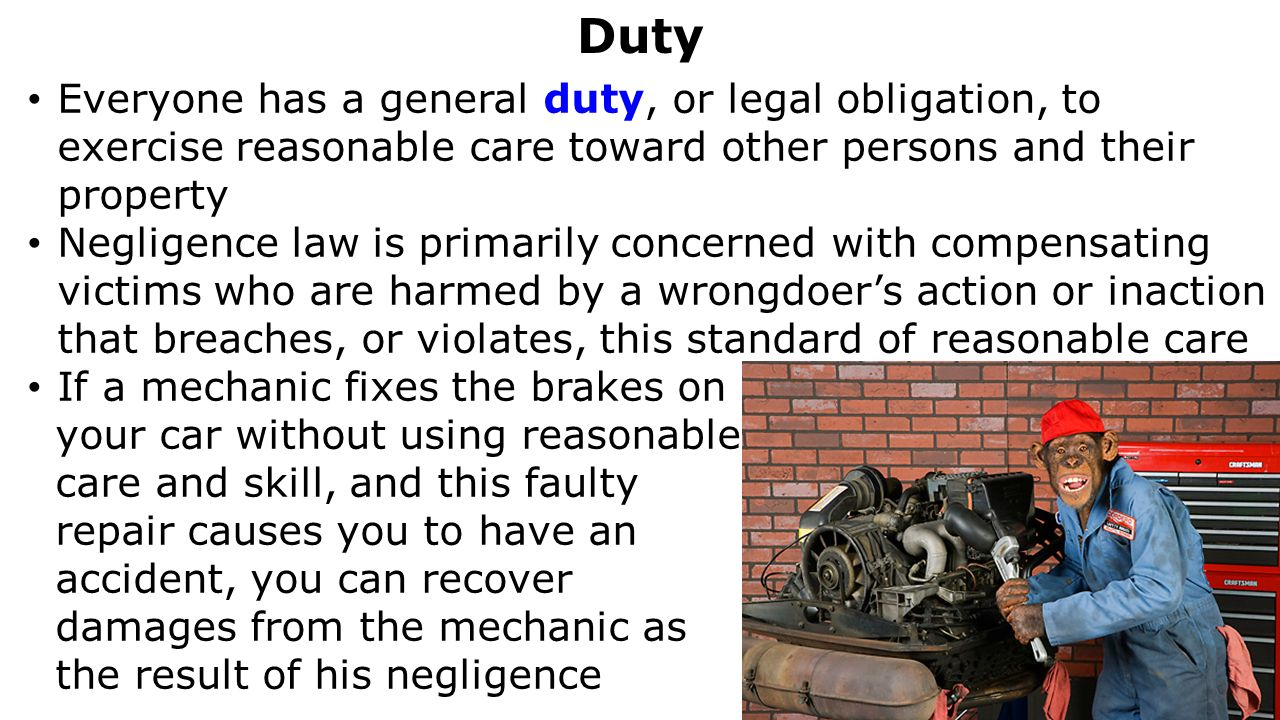negligence duty of care and buick