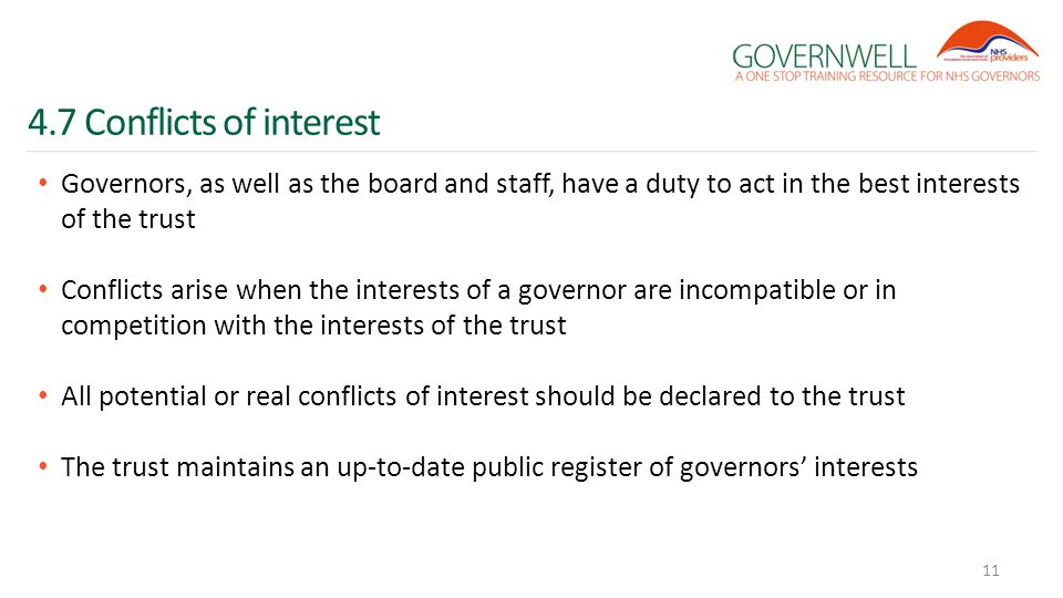 4.7 Conflicts of interest Governors, as well as the board and staff, have a duty to act in the best interests of the trust Conflicts arise when the in