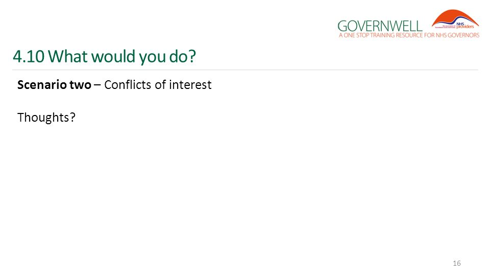 4.10 What would you do? Scenario two – Conflicts of interest Thoughts? 16