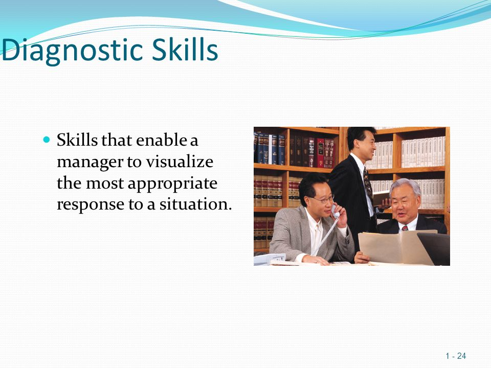 Diagnostic Skills Skills that enable a manager to visualize the most appropriate response to a situation.