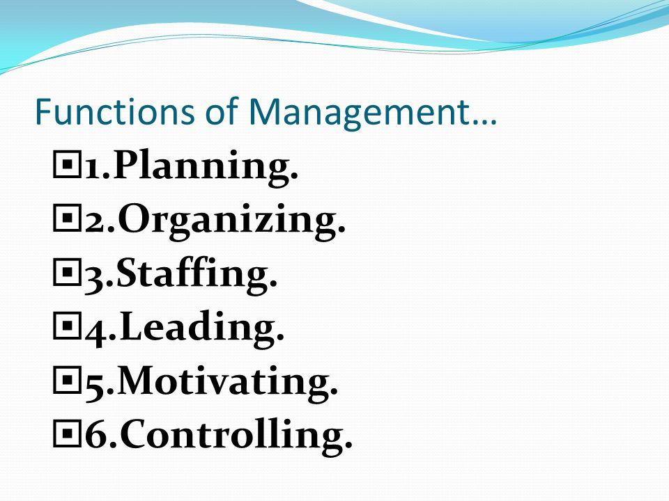 Functions of Management…  1.Planning.  2.Organizing.