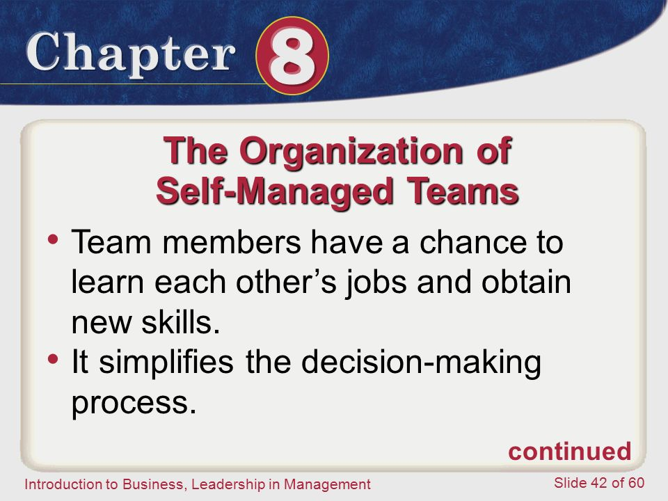 Introduction to Business, Leadership in Management Slide 42 of 60 The Organization of Self-Managed Teams Team members have a chance to learn each othe