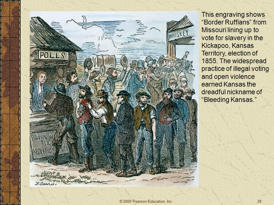 29 This engraving shows Border Ruffians from Missouri lining up to vote for slavery in the Kickapoo, Kansas Territory, election of 1855.