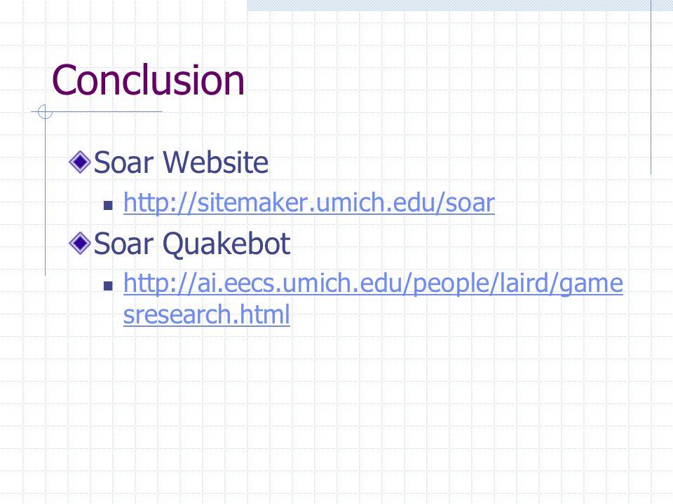Conclusion Soar Website http://sitemaker.umich.edu/soar Soar Quakebot http://ai.eecs.umich.edu/people/laird/game sresearch.html http://ai.eecs.umich.edu/people/laird/game sresearch.html