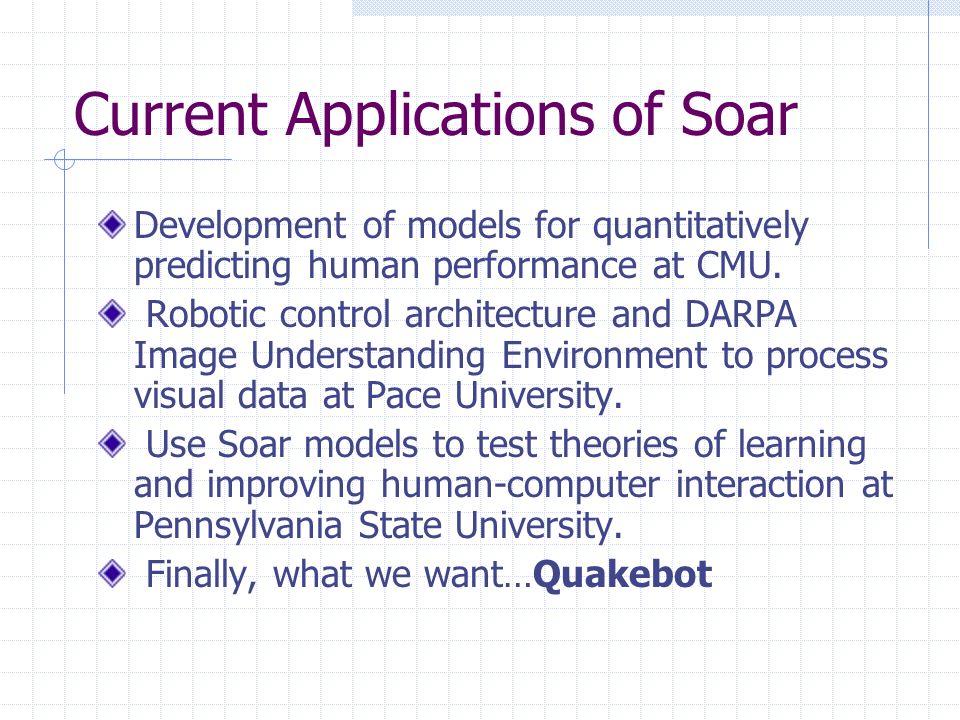 Current Applications of Soar Development of models for quantitatively predicting human performance at CMU.