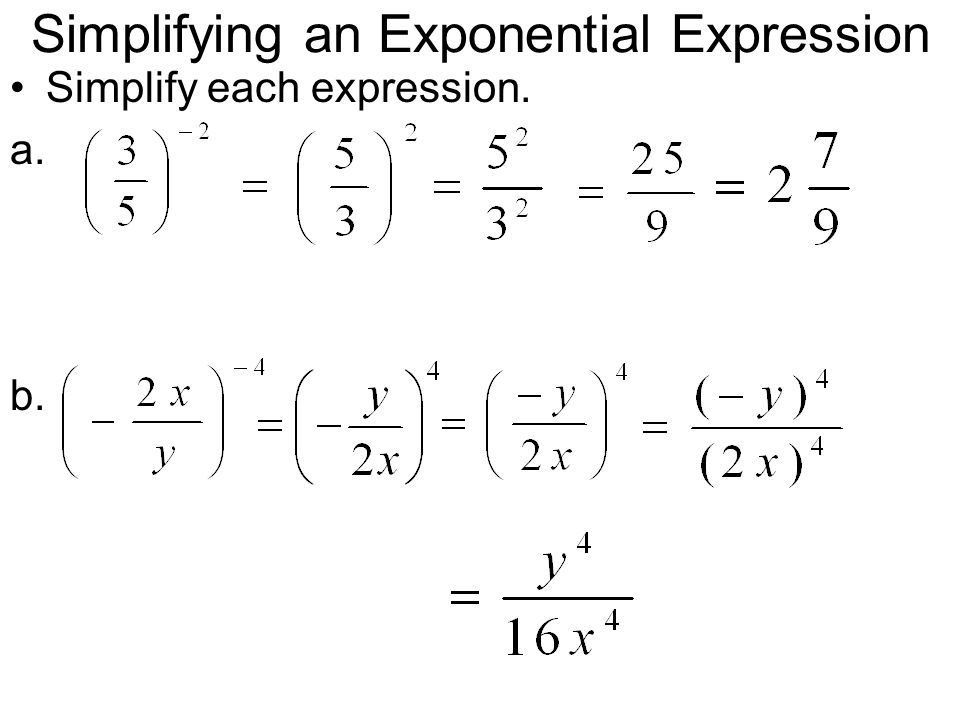 Simplifying an Exponential Expression Simplify each expression. a. b.