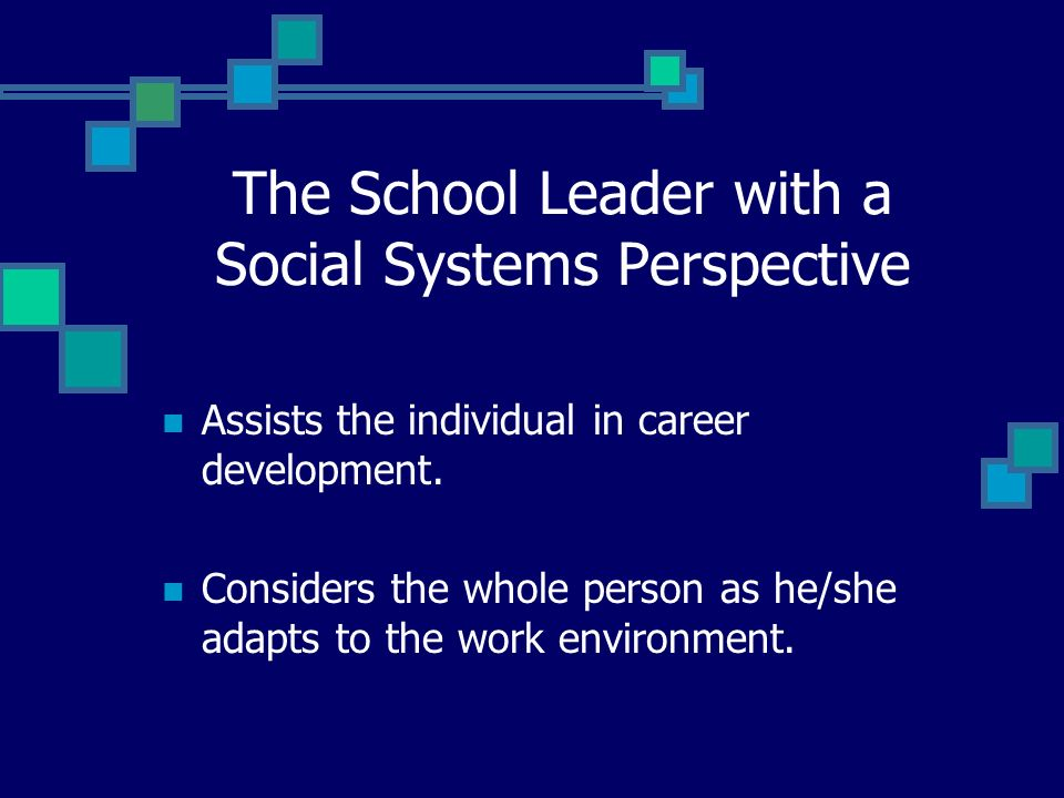 The School Leader with a Social Systems Perspective Considers the content of the job, as well as the leadership process.