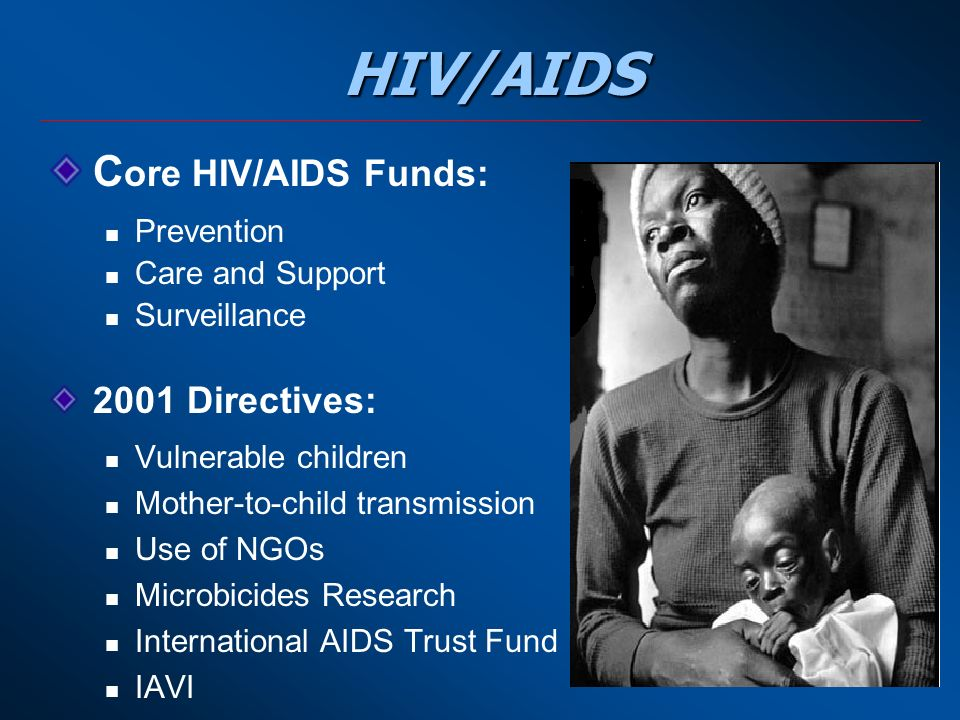 HIV/AIDS C ore HIV/AIDS Funds: Prevention Care and Support Surveillance 2001 Directives: Vulnerable children Mother-to-child transmission Use of NGOs Microbicides Research International AIDS Trust Fund IAVI