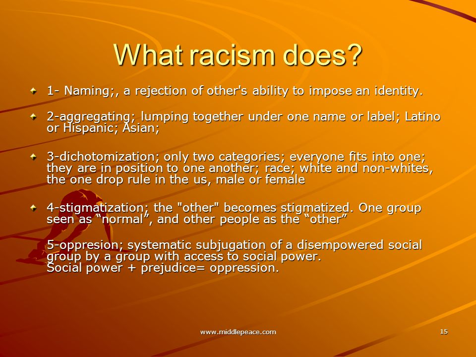 www.middlepeace.com 15 What racism does.