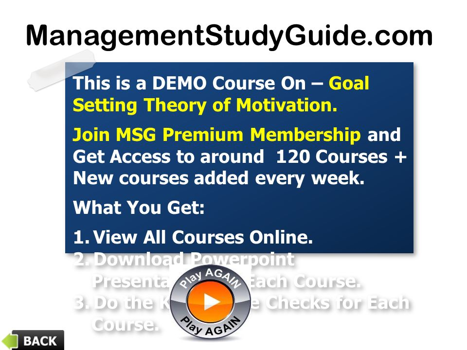 This is a DEMO Course On – Goal Setting Theory of Motivation.