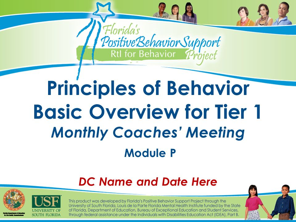 1 Principles Of Behavior Basic Overview For Tier 1 Monthly Coachesu0027 Meeting  Module P DC Name And Date Here  Basic P&l