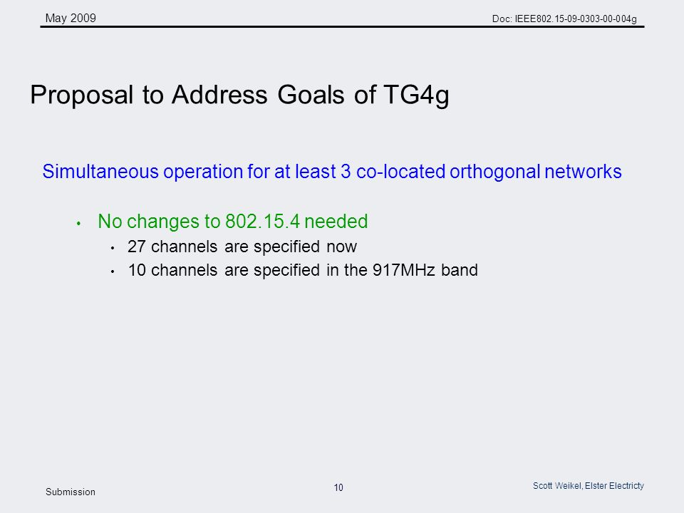 10 May 2009 Doc: IEEE g Submission Scott Weikel, Elster Electricty Simultaneous operation for at least 3 co-located orthogonal networks No changes to needed 27 channels are specified now 10 channels are specified in the 917MHz band Proposal to Address Goals of TG4g