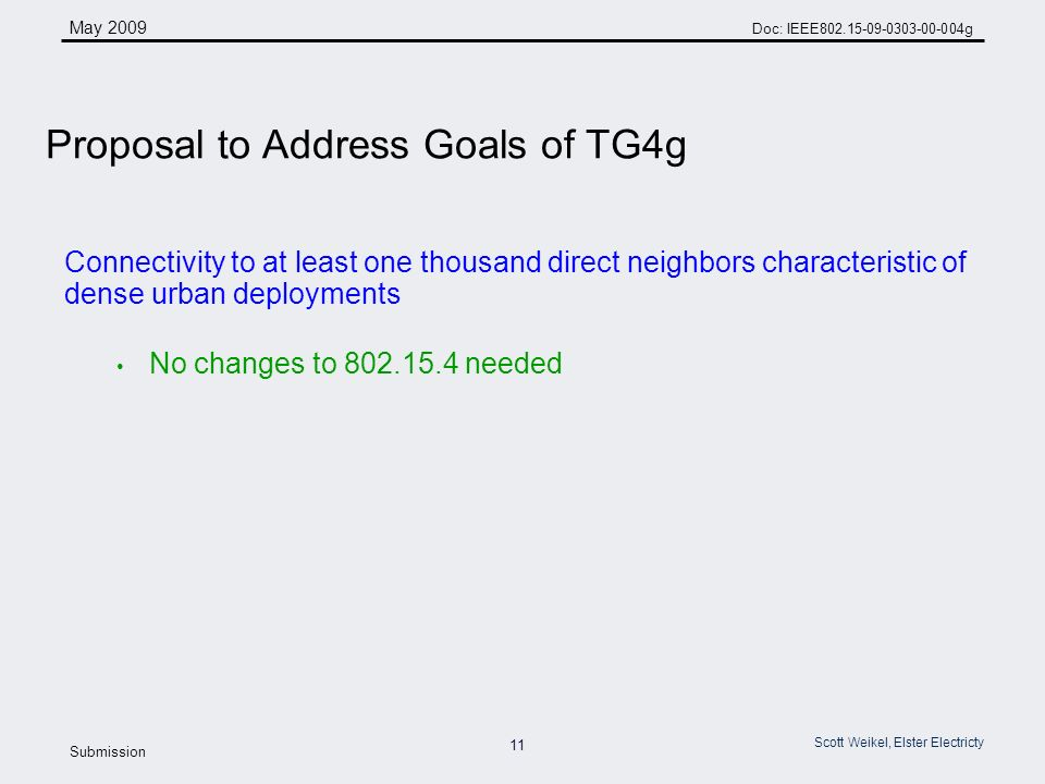 11 May 2009 Doc: IEEE g Submission Scott Weikel, Elster Electricty Connectivity to at least one thousand direct neighbors characteristic of dense urban deployments No changes to needed Proposal to Address Goals of TG4g