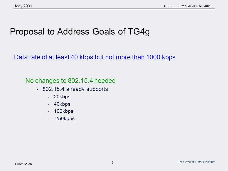 6 May 2009 Doc: IEEE g Submission Scott Weikel, Elster Electricty Data rate of at least 40 kbps but not more than 1000 kbps No changes to needed already supports 20kbps 40kbps 100kbps 250kbps Proposal to Address Goals of TG4g