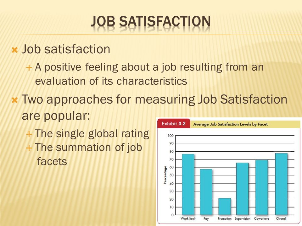  Job satisfaction  A positive feeling about a job resulting from an evaluation of its characteristics  Two approaches for measuring Job Satisfactio