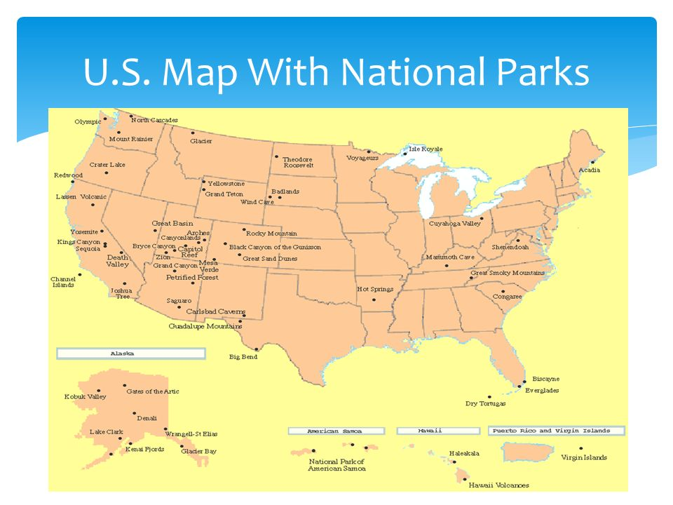 7 U S Map With National Parks