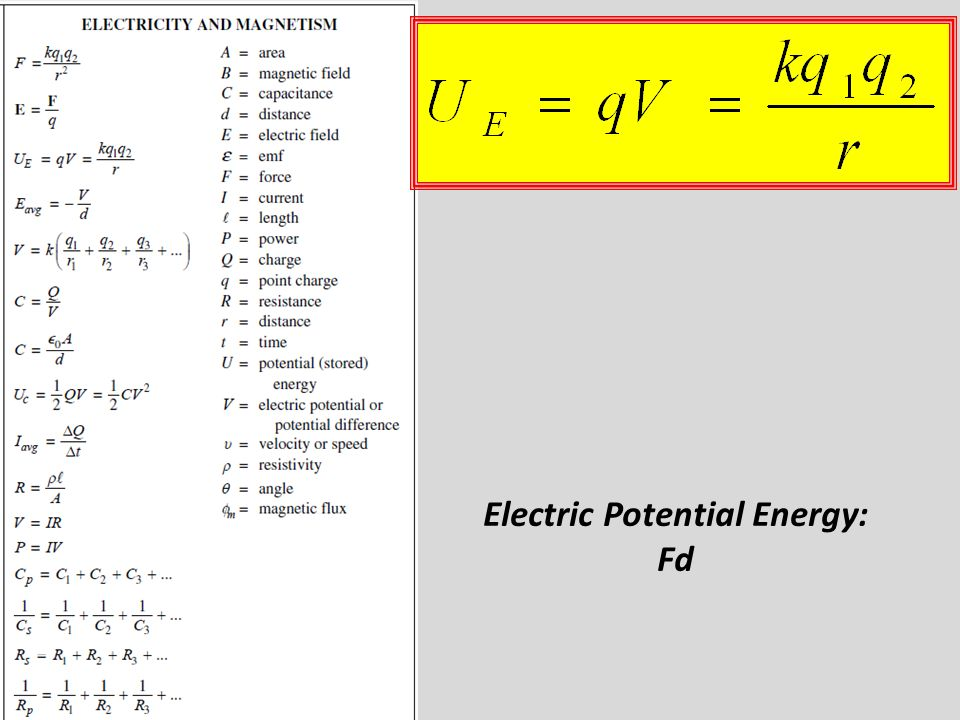 Electric Potential Energy: Fd