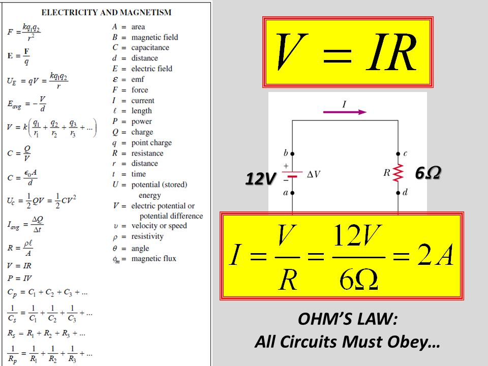 OHM'S LAW: All Circuits Must Obey… 12V 6666