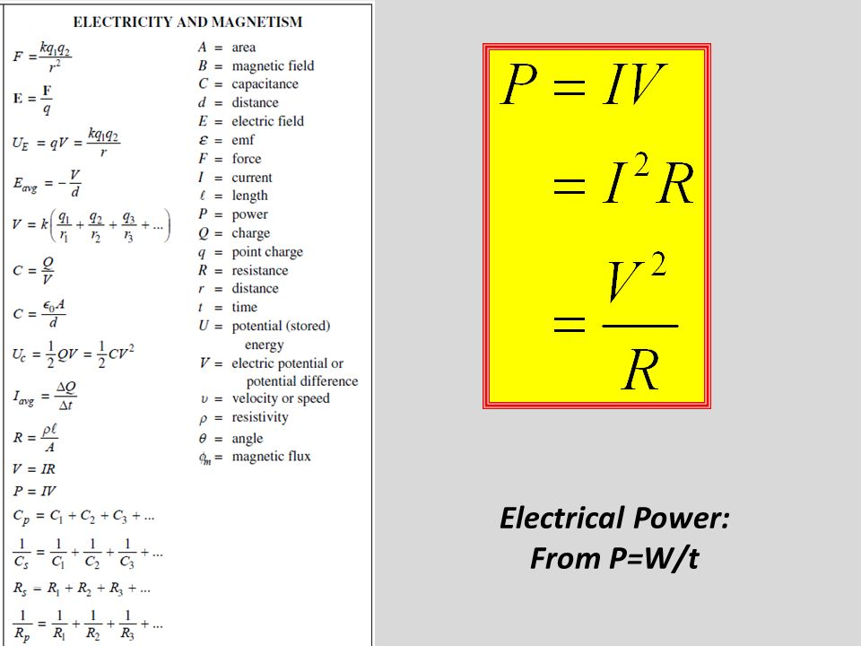 Electrical Power: From P=W/t