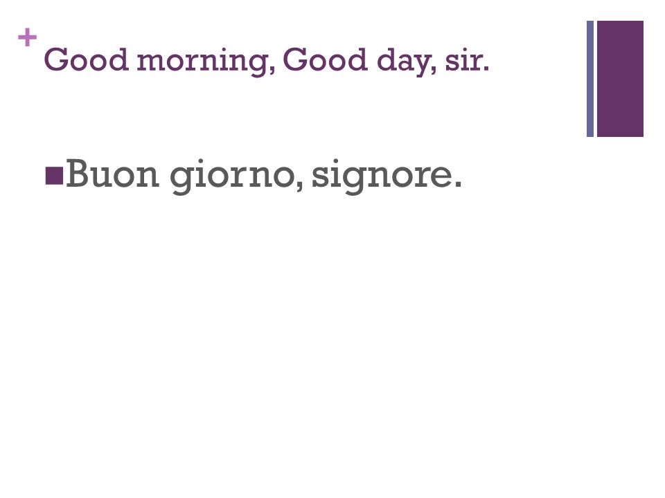 + Good morning, Good day, sir. Buon giorno, signore.