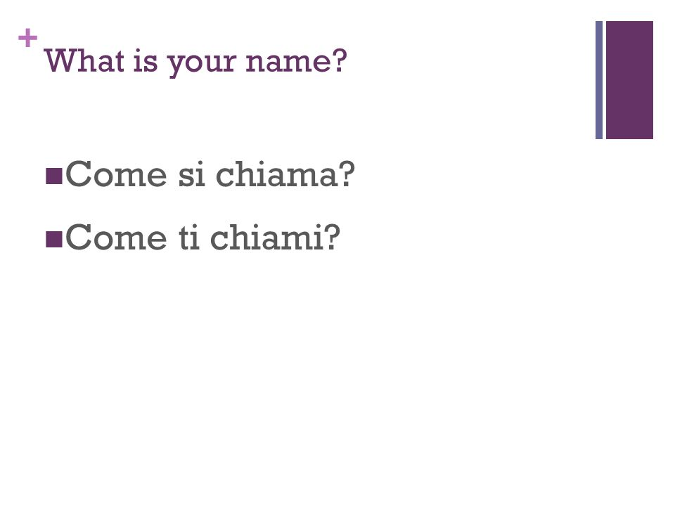 + What is your name? Come si chiama? Come ti chiami?