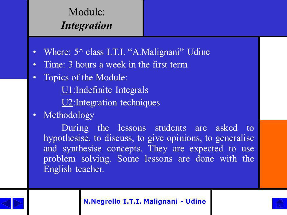 Module: Integration Where: 5^ class I.T.I. A.Malignani Udine Time: 3 hours a week in the first term Topics of the Module: U1:Indefinite Integrals U2:I