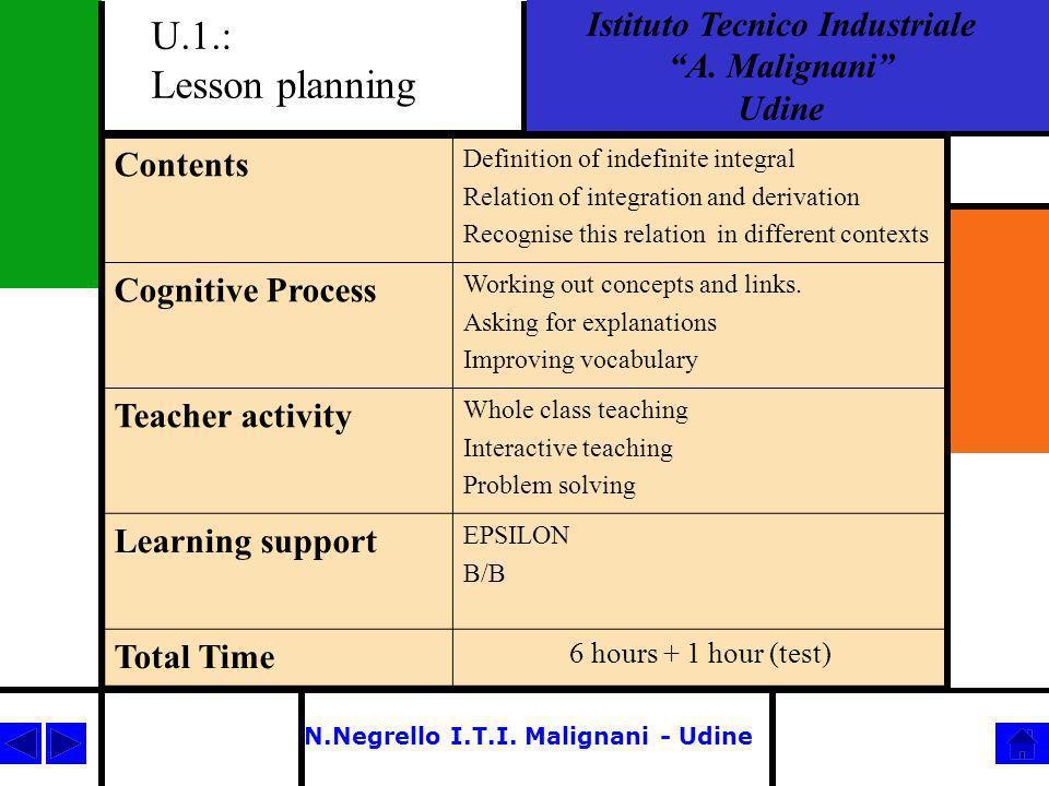 N.Negrello I.T.I.Malignani - Udine U.2.: Integration Techniques Istituto Tecnico Industriale A.