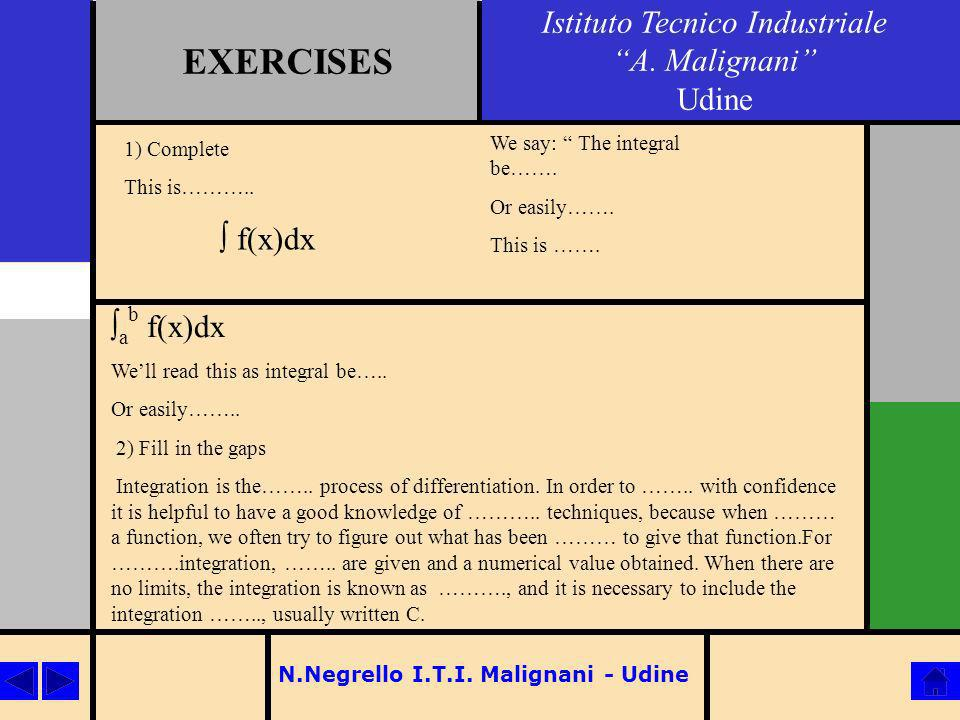 N.Negrello I.T.I. Malignani - Udine EXERCISES Istituto Tecnico Industriale A. Malignani Udine 1) Complete This is……….. f(x)dx We say: The integral be…