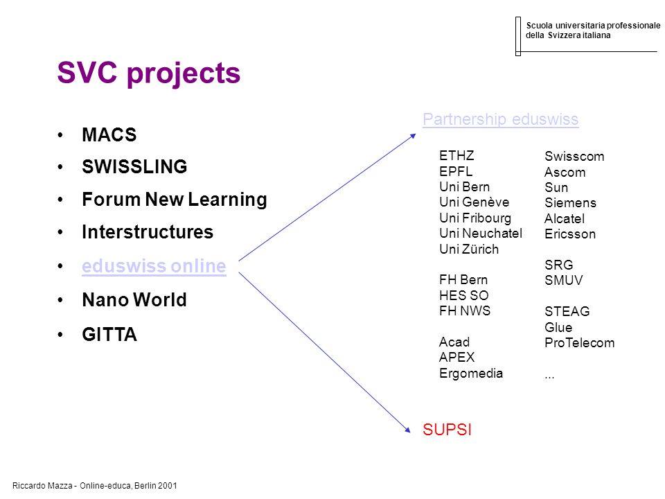 Riccardo Mazza - Online-educa, Berlin 2001 Scuola universitaria professionale della Svizzera italiana SVC projects MACS SWISSLING Forum New Learning I