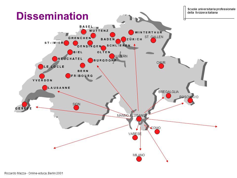 Riccardo Mazza - Online-educa, Berlin 2001 Scuola universitaria professionale della Svizzera italiana Dissemination MANNO / LUGANO MILANO VARESE COMO