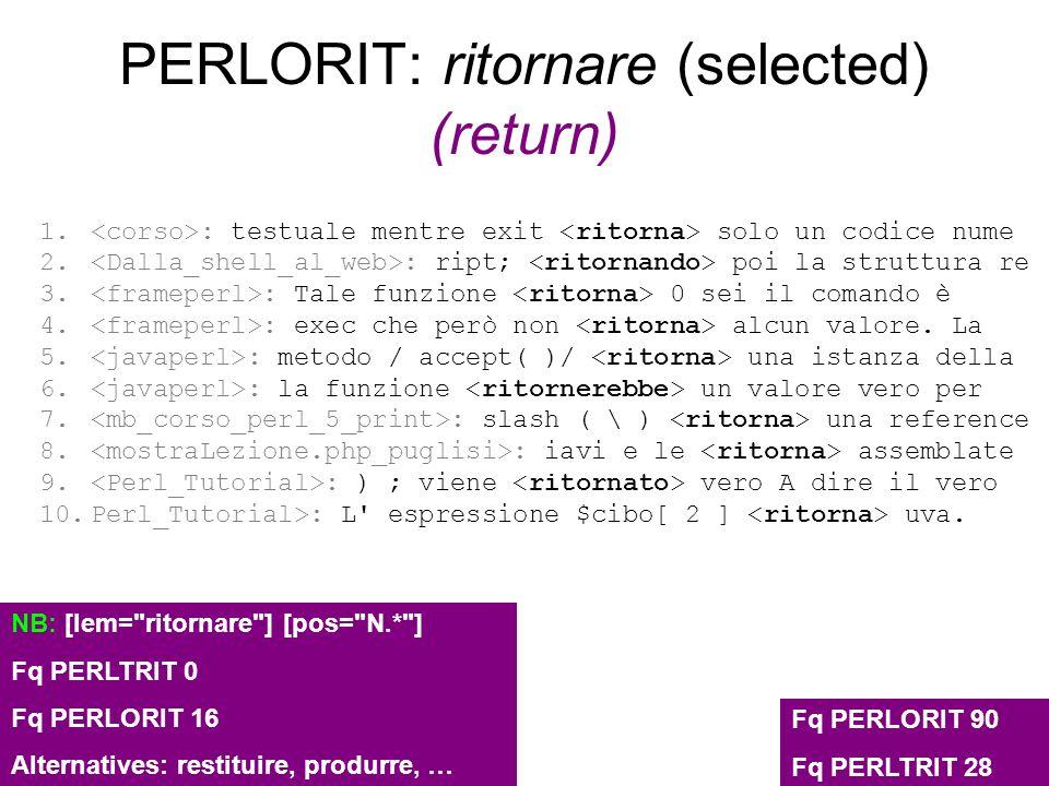 PERLORIT: ritornare (selected) (return) 1. : testuale mentre exit solo un codice nume 2. : ript; poi la struttura re 3. : Tale funzione 0 sei il coman