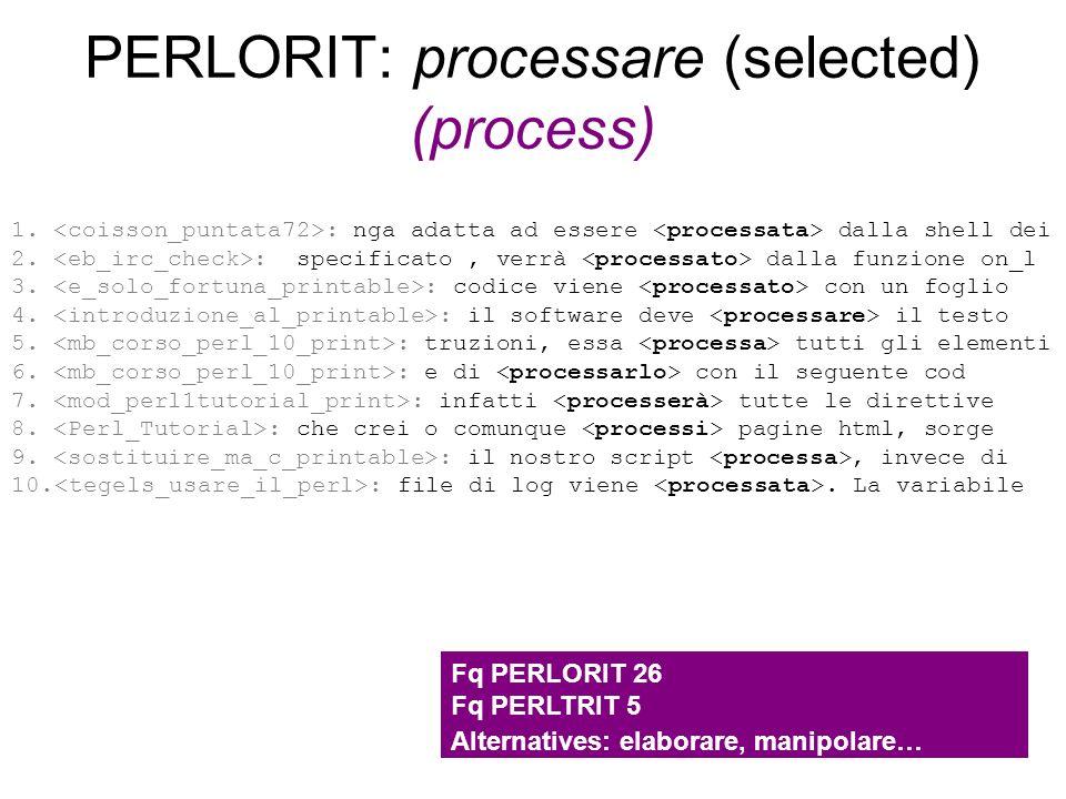 PERLORIT: processare (selected) (process) 1. : nga adatta ad essere dalla shell dei 2. : specificato, verrà dalla funzione on_l 3. : codice viene con