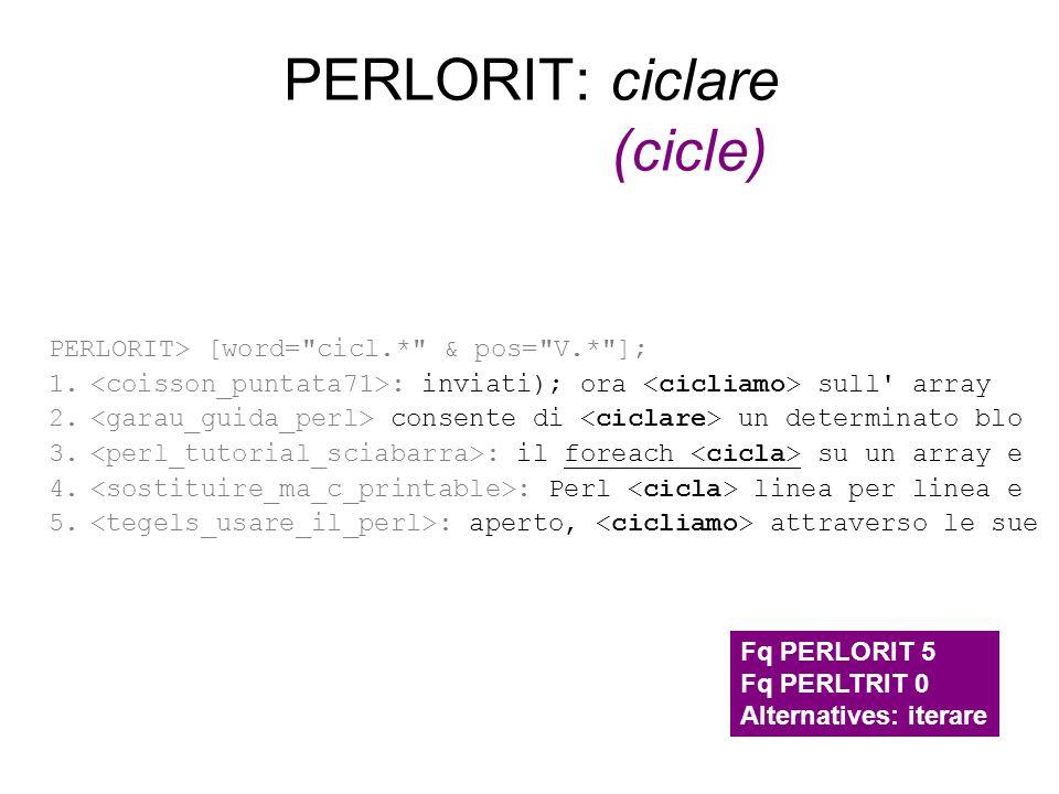 PERLORIT: ciclare (cicle) PERLORIT> [word=