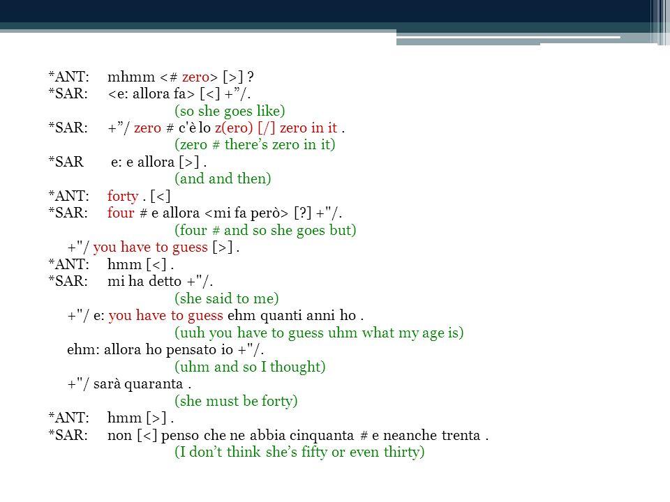 *ANT:mhmm [>] . *SAR: [<] +/. (so she goes like) *SAR:+/ zero # c è lo z(ero) [/] zero in it.