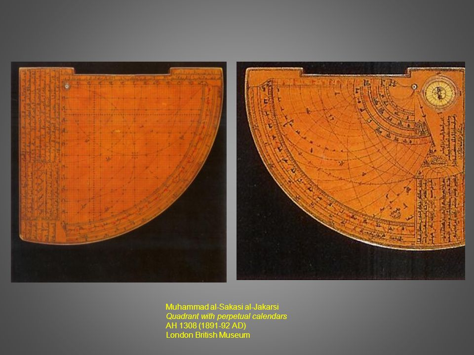 Muhammad al-Sakasi al-Jakarsi Quadrant with perpetual calendars AH 1308 (1891-92 AD) London British Museum