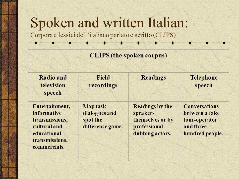 Spoken and written Italian: Corpora e lessici dellitaliano parlato e scritto (CLIPS) CLIPS (the spoken corpus) Radio and television speech Field recor