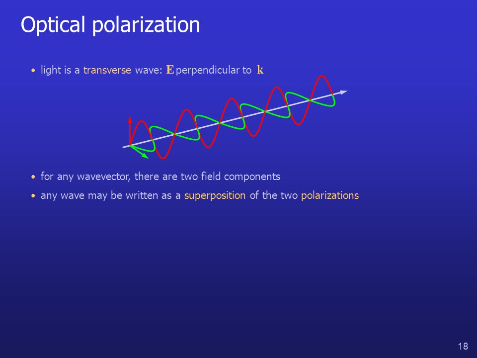 18 Optical polarization for any wavevector, there are two field components light is a transverse wave: perpendicular to any wave may be written as a s
