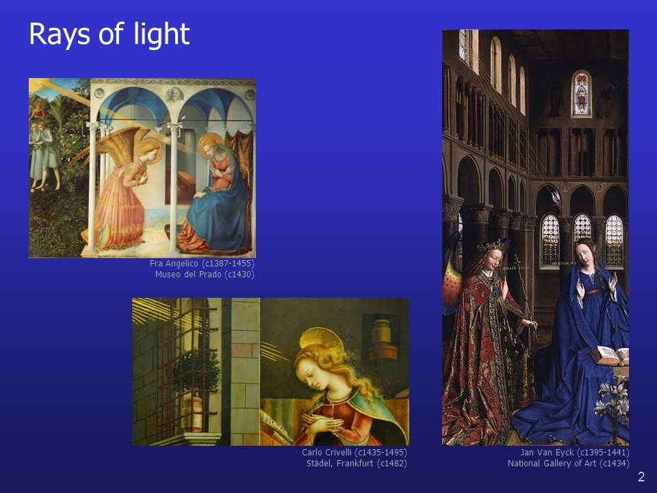 2 Rays of light Jan Van Eyck (c1395-1441) National Gallery of Art (c1434) Fra Angelico (c1387-1455) Museo del Prado (c1430) Carlo Crivelli (c1435-1495) Städel, Frankfurt (c1482)
