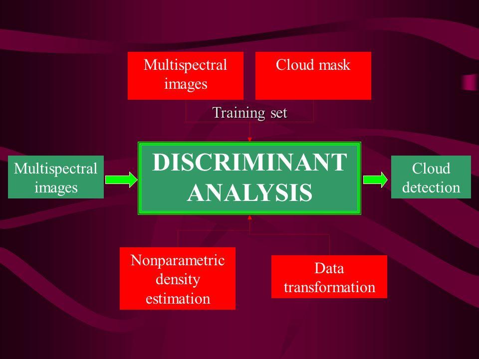 Multispectral images Cloud mask DISCRIMINANT ANALYSIS Multispectral images Cloud detection Nonparametric density estimation Data transformation Traini