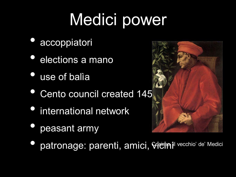 Medici power accoppiatori elections a mano use of balìa Cento council created 1458 international network peasant army patronage: parenti, amici, vicin