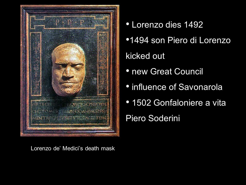 Lorenzo de Medicis death mask Lorenzo dies 1492 1494 son Piero di Lorenzo kicked out new Great Council influence of Savonarola 1502 Gonfaloniere a vit
